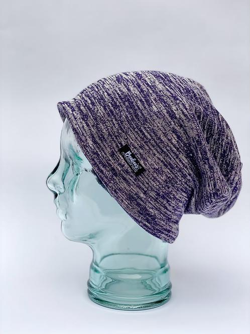 Purple Heather Slouchy Beanie- Lined