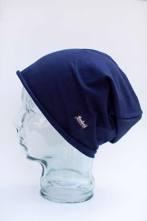 Solid Navy Blue Slouchy Beanie