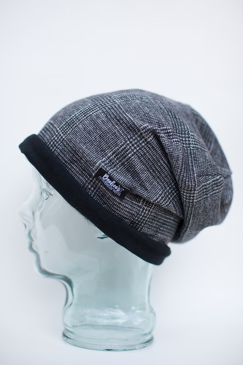 Grey Plaid Slouchy Beanie
