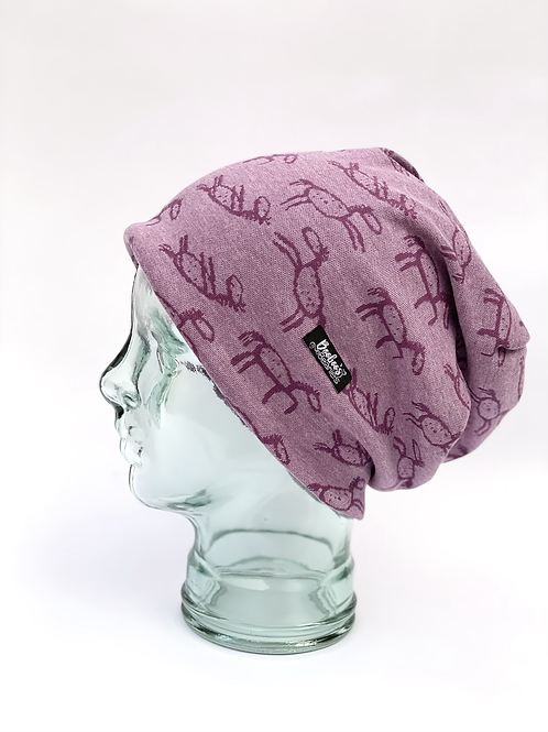 Stick Horses Slouchy Beanie- purple (lined)
