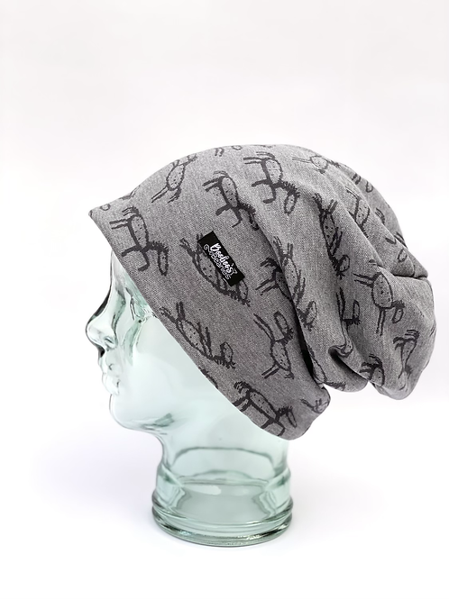 Stick Horses Slouchy Beanie- grey (lined)