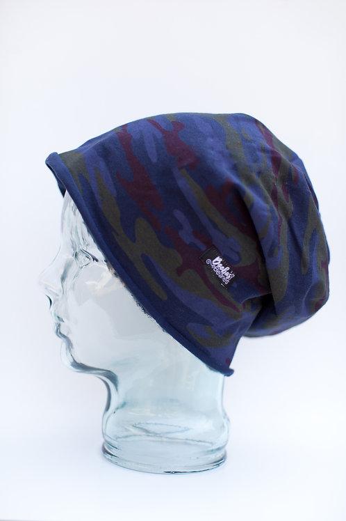 Dark Blue Camouflage Slouchy Beanie