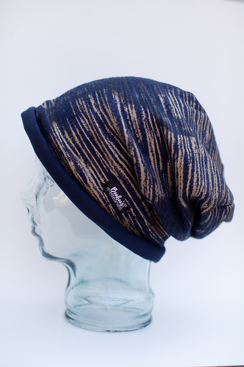 Navy Gold Striped Slouchy Beanie