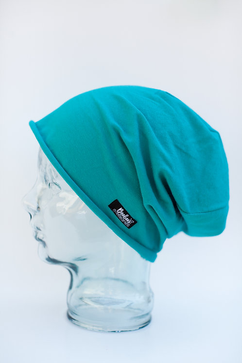 Solid Turquoise Slouchy Beanie (unlined)