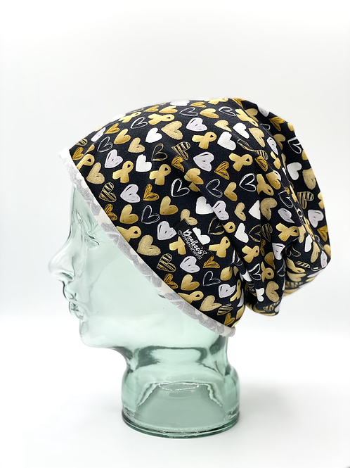 Gold Ribbon Love Beanie - Unlined