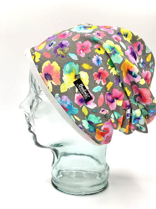 Watercolour flowers beanie, unlined terry
