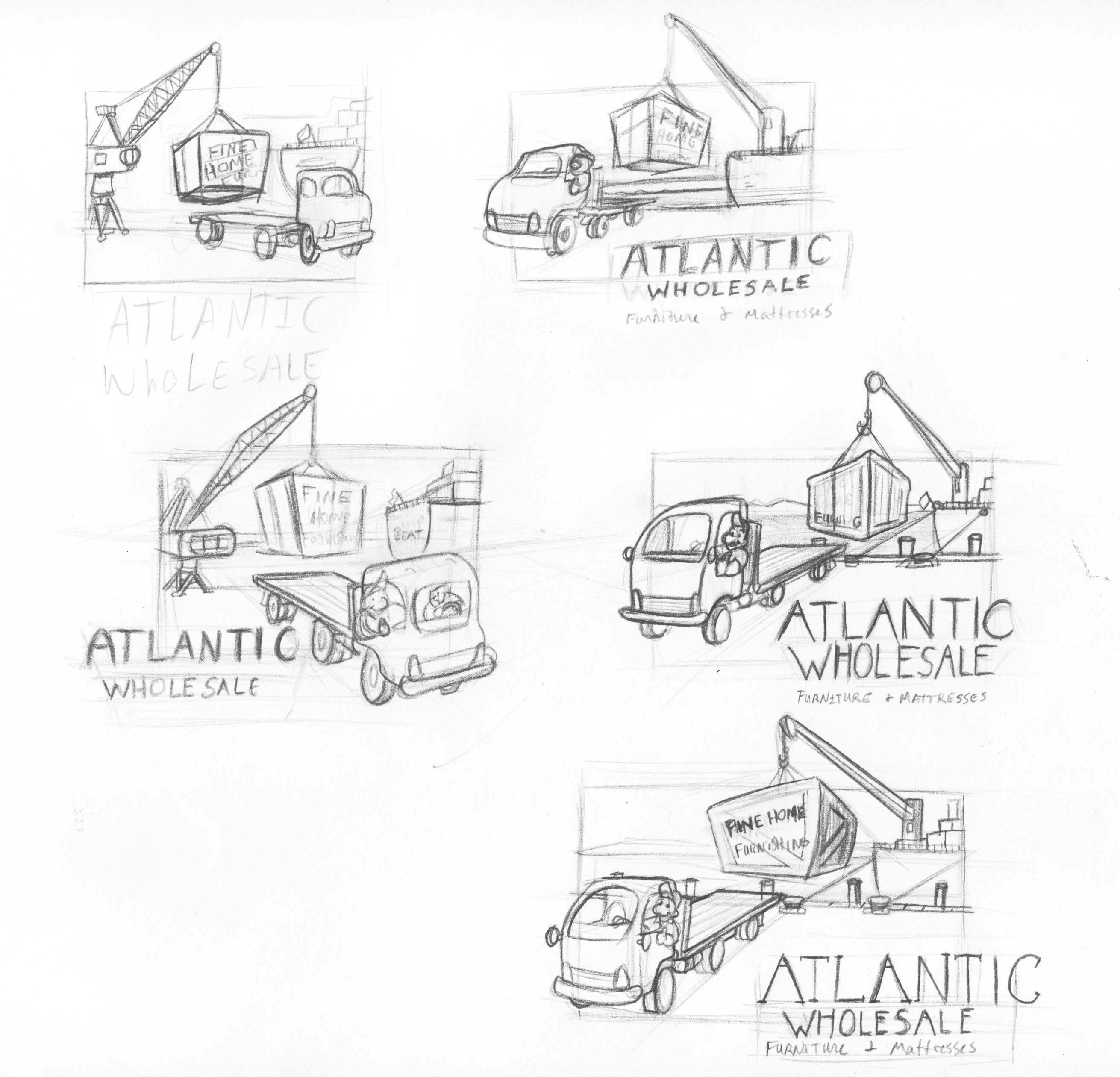 Atlantic Furniture Logo Sketches