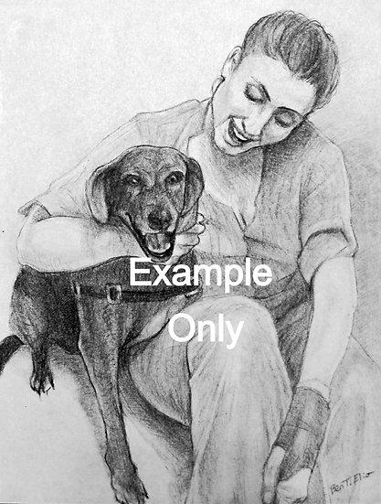 5 x 7 Portrait, Black and White Sketch