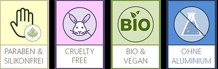 Bio Vegan ohne Aluminium cruelty free ohne Parabene Silikon