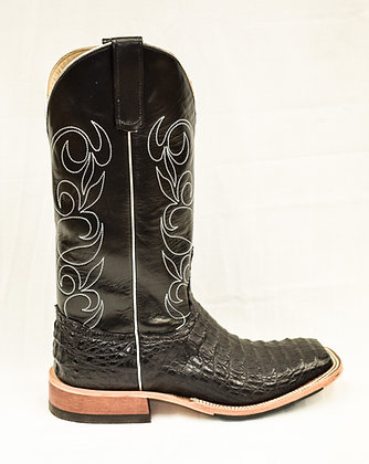 Ladies Anderson Bean Black Lux Horn Back Caiman 321810