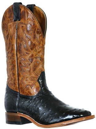 Men's Boulet Full Quill Ostrich Wide Square Toe Cowboy Boot 9531
