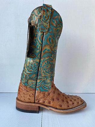 Ladies Anderson Bean Brandy Bruciato  Ostrich Cowgirl Boot 328019