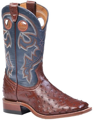Men's Boulet Full Quill Ostrich Wide Square Toe Cowboy Boot 8523