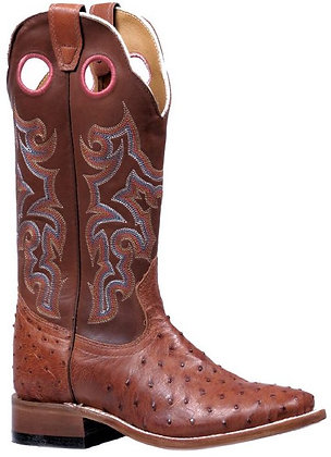 Ladies Boulet Smooth Ostrich Wide Square Toe Cowgirl Boot 5526