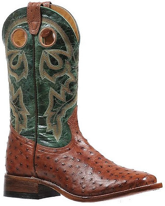 Men's Boulet Full Quill Ostrich Wide Square Toe Cowboy Boot 8522