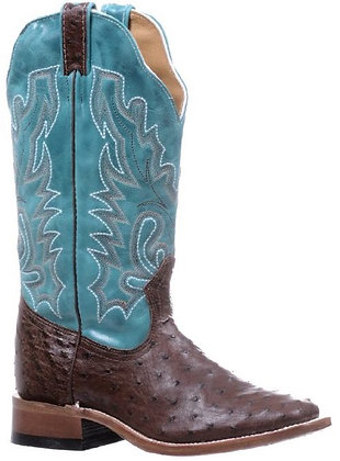 Ladies Boulet Smooth Ostrich Wide Square Toe Cowgirl Boot 5528