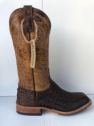 Mens Anderson Bean Chocolate Lux Horn Back Caiman Boots 321818
