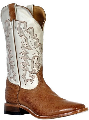 Men's Boulet Full Quill Ostrich Wide Square Toe Cowboy Boot 9532