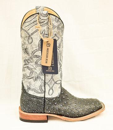 Ladies Anderson Bean Blue Denim Osrich Boots 321814