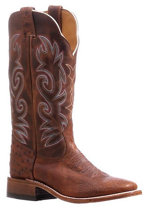 Ladies Boulet Smooth Ostrich Wide Square Toe Cowboy Boot 5523