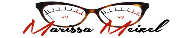 Marissa Meizel Voiceover logo with glasses