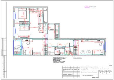 План возводимых перегородок и расстановка мебели
