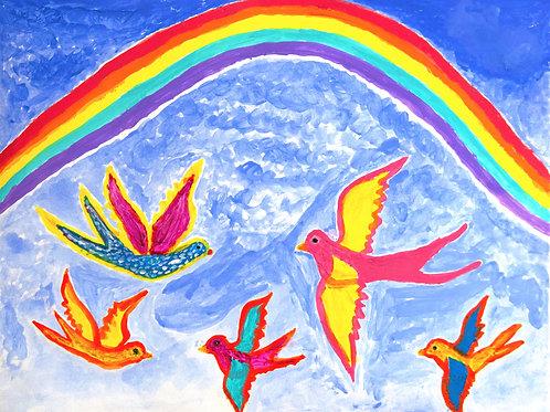 Tran Nguyen & Sister: Happy Family of Birds Flying Under a Rainbow