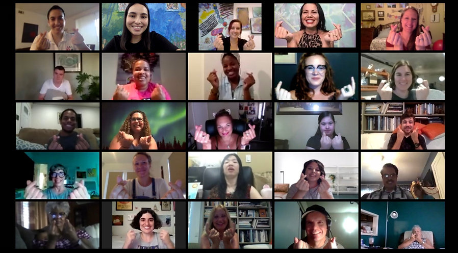 large and diverse group of smiling creative people of all ability taking an online class