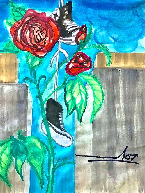 Mark Ward: Roses N Chucks Print
