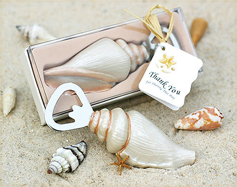 """""""Shore Memories"""" Deniz Kabuğu Formlu Şişe Açacağı Hediyelik Nikah Şekeri"""
