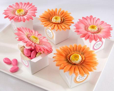 """""""Daisy Delight"""" Çiçekli Şeker Kutusu Şeklinde Hediyelik Şeker Kutusu-Turuncu"""