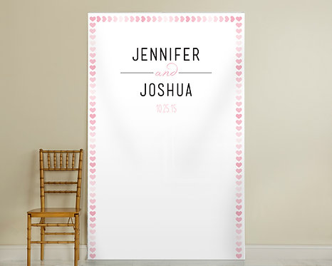 Pink Hearts Border Backdrop
