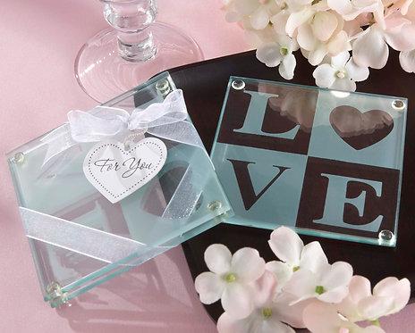 """""""Clearly in Love"""" Bardak Altlığı Şeklinde Hediyelik Nikah Şekeri"""