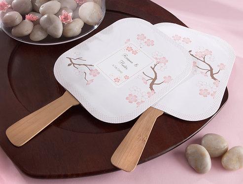 """""""Cherry Blossoms"""" Bambu Tutacaklı Yelpaze Şeklinde Hediyelik Nikah Şekeri"""