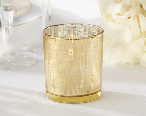 Classic Gold Stripe Tealight Mumluk Şeklinde Hediyelik Nikah Şekeri