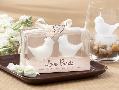 """""""Love Birds"""" Beyaz Mum Kuşlar Şeklinde Hediyelik Nikah Şekeri"""