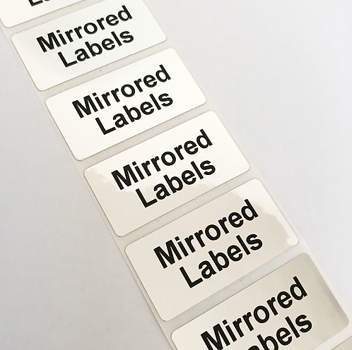Mirrored Silver Labels (50mm x 25mm)