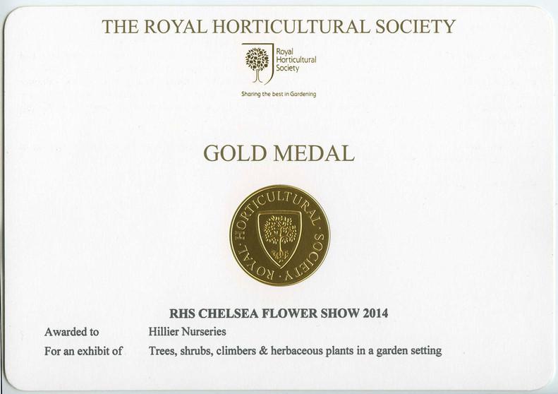 Gold medal, RHS Chelsea Flower Show 2014