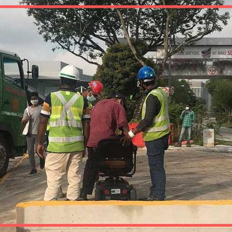 Men Stop Construction Work To Help Old Man Cross Path