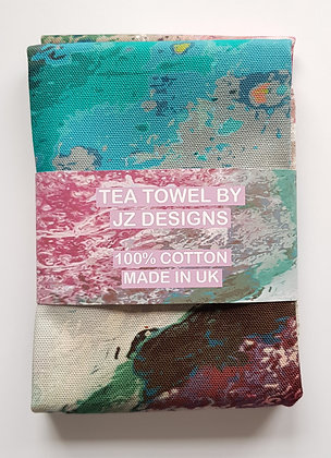 Abstract Pink & Blue Water Tea Towel