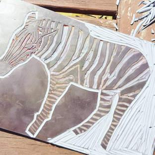 Zebra Lino Cut