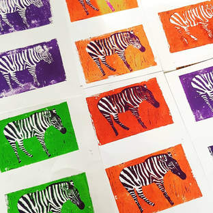 Reductive Zebra Lino Print