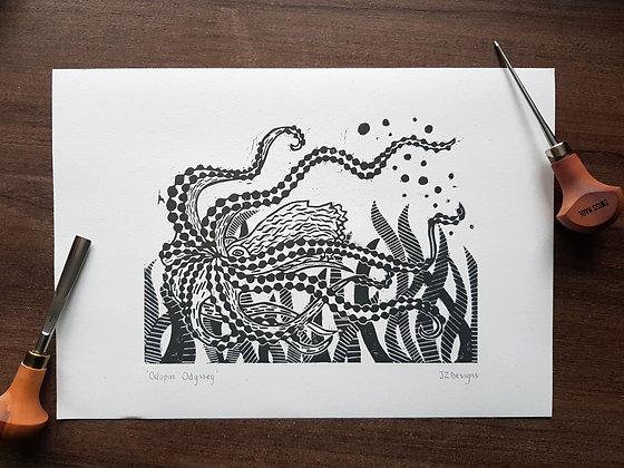 'Octopus Odyssey' Lino Print