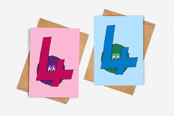 4th Birthday Goblin - Blue // Pink lllustration card