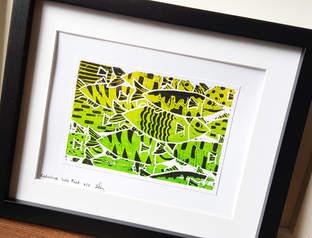 Reductive Fish Lino Print