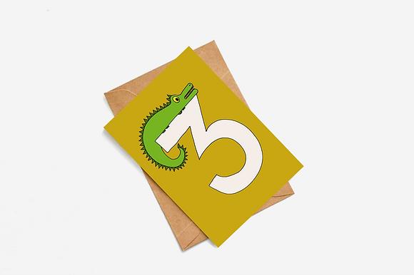 3rd Birthday Goblin - Mustard lllustration card