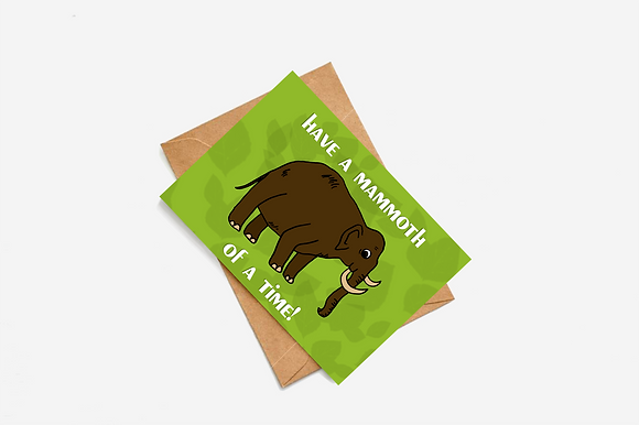 Have A Mammoth Of A Time lllustration card