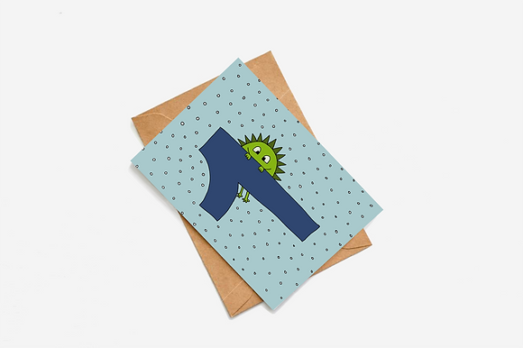 1st Birthday Goblin - Blue lllustration card