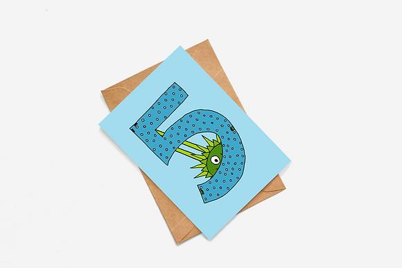 5th Birthday Goblin - Blue lllustration card