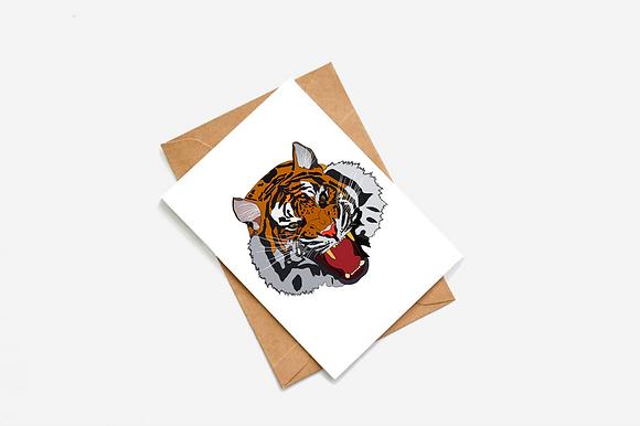 Tiger Face Illustration card
